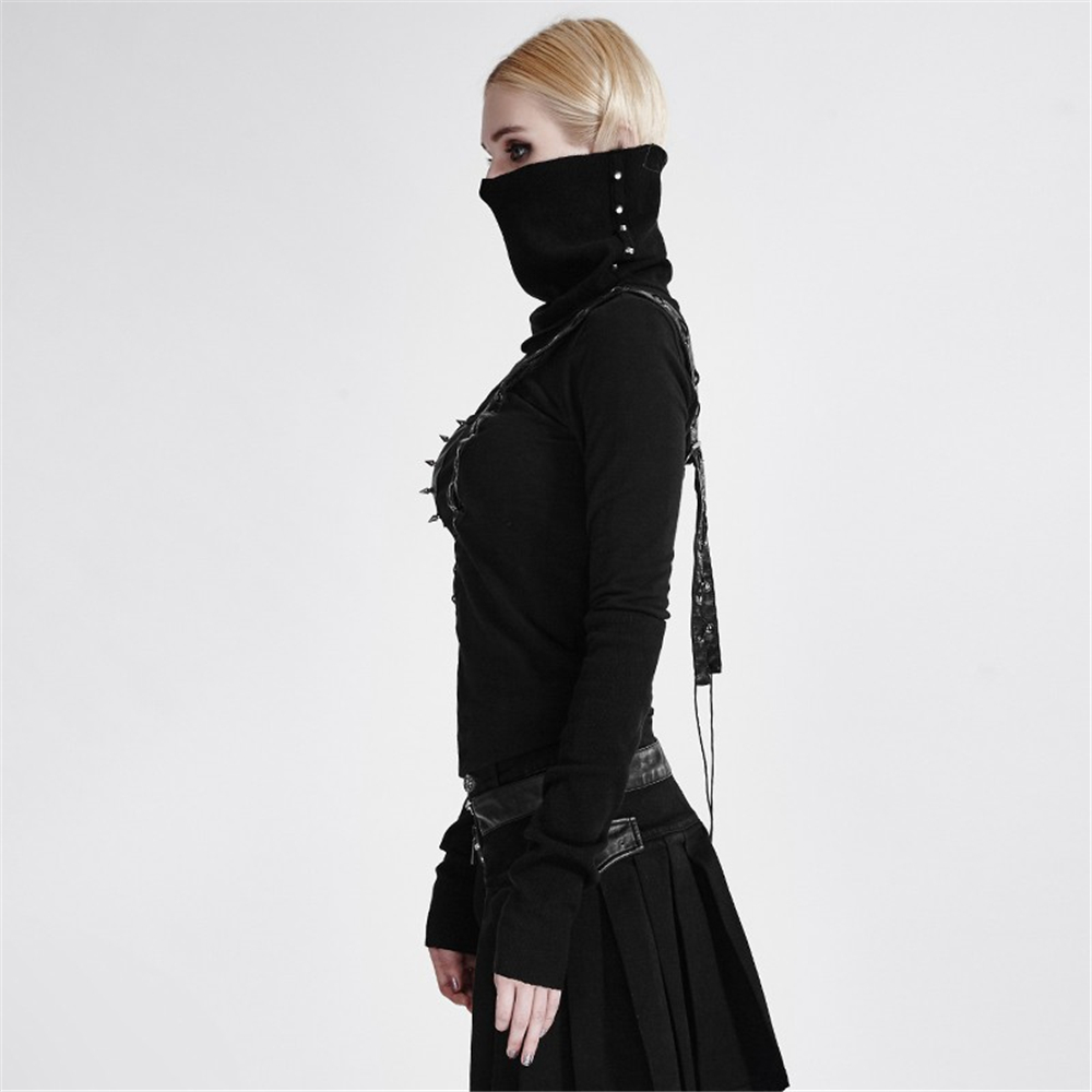 Punk High Neck Backless asymmetrische Stricken weibliche krieger T shirt Nieten pu leder schwarz Maske Stil Langarm T shirt Tops - 2
