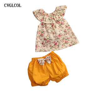 CVGLCOL Newborn Baby Girl Clothing Set Floral Outfit Clothes Tank Top bow with knot Shorts Summer Outfits Toddler Kids Clothes
