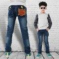 Calças de Brim de inverno Para As Crianças 2015 Novos Meninos Cintura Elástica Calças Skinny Calças de Marcas famosas Tamanho Maior Jeans Inverno Para Crianças