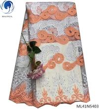 BEAUTIFICAL african lace fabric 2019 rhinestones net fabrics nigerian high quality wholesale retail ML41N54