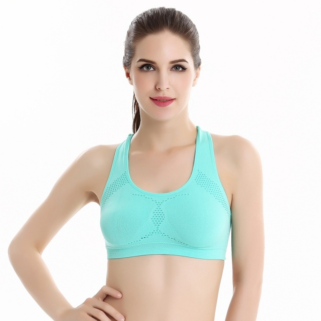 Women Workout Stretch Tank Tops Yoga Padded Bra Top Racerback Sports Bra