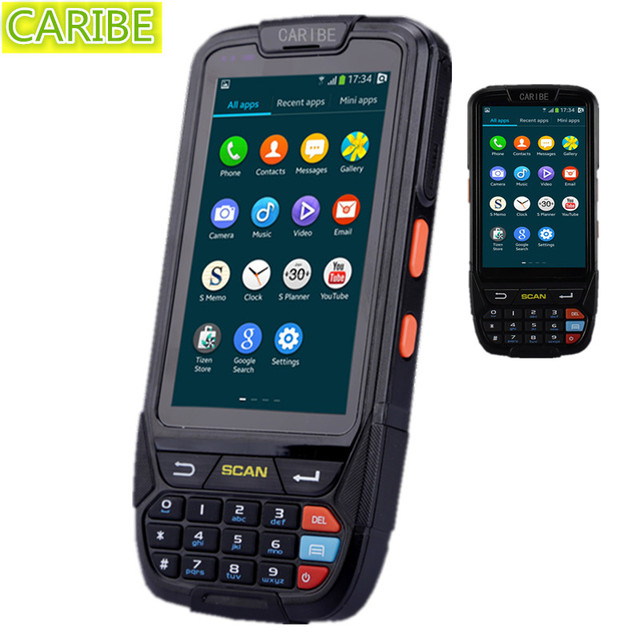 "Caribe PL-40L 4"" touch screen android os 4g rugged pda 13.56 mhz rfid handheld and 2d barcode scanner"