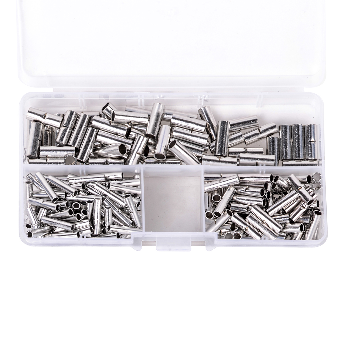 200pcs Copper Butt Splice Connectors Solder Crimp Electrical Cable Wire Terminals 22-10AWG with Plastic Box 300pcs set assorted insulated electrical wire crimp terminals connector butt set with box