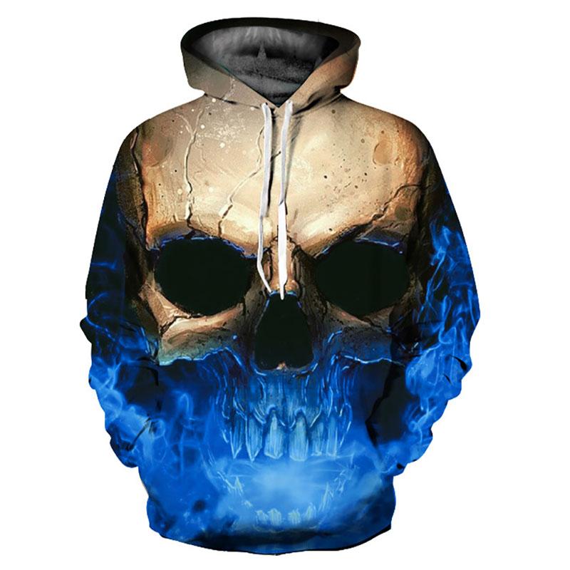 Headbook Skulls Hoodies Women/Men 3d Sweatshirts With Hat Print Big Skulls Hooded Hoodies Thin Hoody Pullovers YXQL306