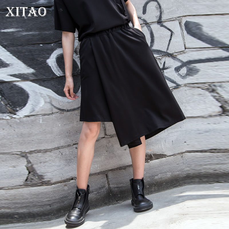 [XITAO] Europe Fashion Female Casual   Wide     Leg     Pants   Spring Summer 2019 New Irregular Solid Color Knee Length   Pants   LYH3304