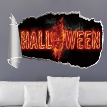 Hot PVC Halloween Wall Sticker 3D Pumpkin Head Wall Sticker Home Decoration Room Floor Living Room Wall Decals Home Decor купить недорого в Москве