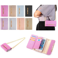 For Iphone 7 Case Long Chain Leather Flip Wallet Magnetic Card Slot Phone Case For IPhone