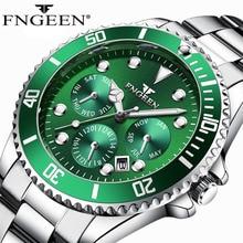 FNGEEN Top Brand Luxury Watch Stainless Steel Strap Luminous Wristwatch Big Dial Male Waterproof Quartz Relogio Masculino