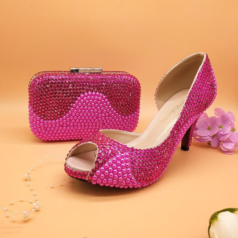 BaoYaFang fuschia cristal Peep toe chaussures femmes chaussures de mariage et sacs ouvert côté mode chaussures pour femme nouveauté pompes hautes