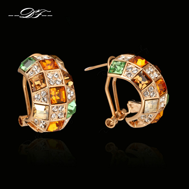 Exaggerated Imitation Gemstone Stud Earrings Rose Gold Plated Crystal Fashion Wholesale Vintage Jewelry For Women brincos DFE063