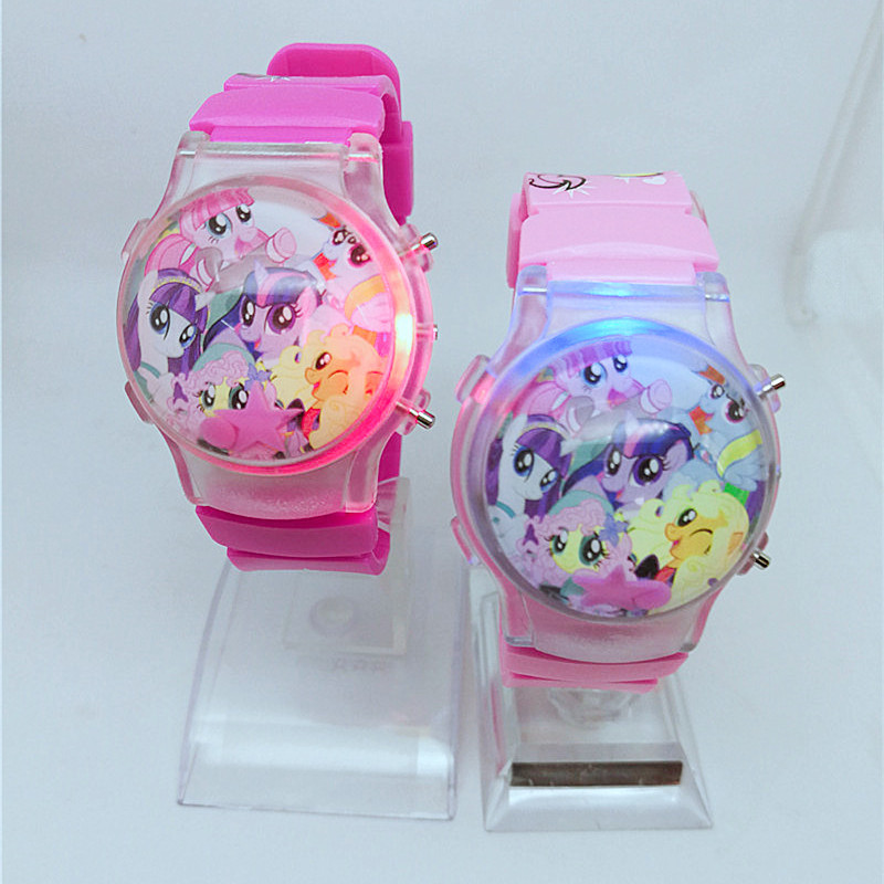 2019 Fashion Cute Children Cartoon Pony Silicone Doll Watch Water Ball Calendar Flash LED Electronic Wave Watch Girl Watch