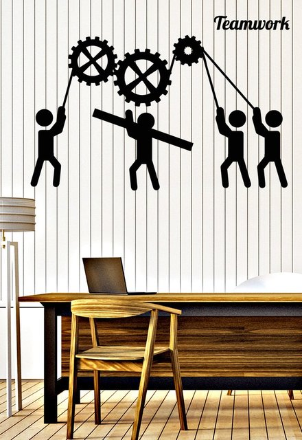 teamwork vinyl wall stickers for office removable interior decorate