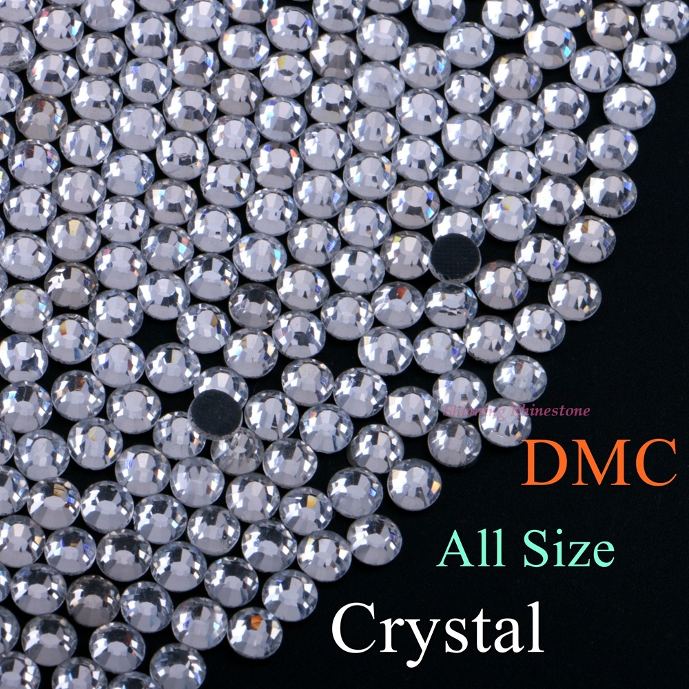 High Quality SS6 To SS50 Clear Crystal DMC Hotfix Rhinestone 1.5mm To 9.5mm Glass Strass Hot Fix Iron On Rhinestones Flatback