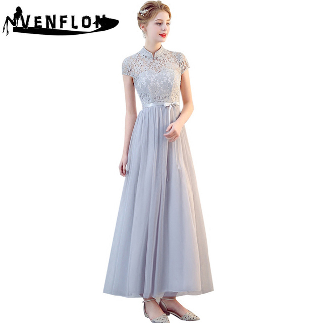 2018 Fashion Slim Wedding Long Party Dresses Elegant Bridesmaids Chiffon  Lace Dress Women Summer Ball Gown Dress Female vestidos 20ce8d1ebbd2