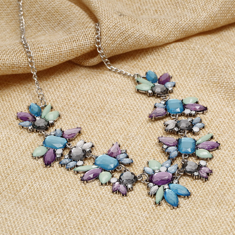 Jewelry Fashion Brand Colorful Flower Choker Luxury Fashion Rhinestone Necklaces For Women 2016 New necklaces & pendants Gifts