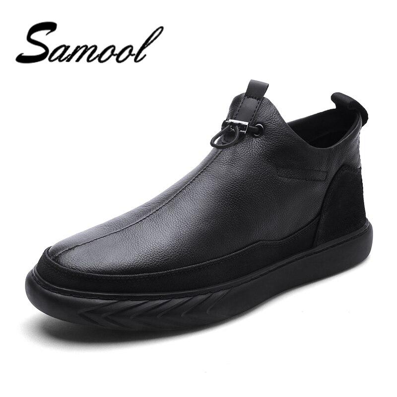 Véritable Cuir Casual Chaussures Mode Hommes En Peluche De Fourrure D'hiver Confortable Hommes En Cuir Véritable Chaussures à lacets Mocassins taille 38 -44 QX5