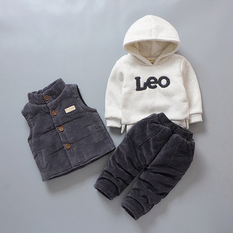 New Arrival Autumn Winter Children Clothing 1-4 Y Toddler Boys Clothing Set 3pcs Vest+Hooded Long Sleeve+Pants Kids Baby Suit piston assy 68mm for honda gx200 6 5hp enges free shipping cheap kolben w rings wrist pin