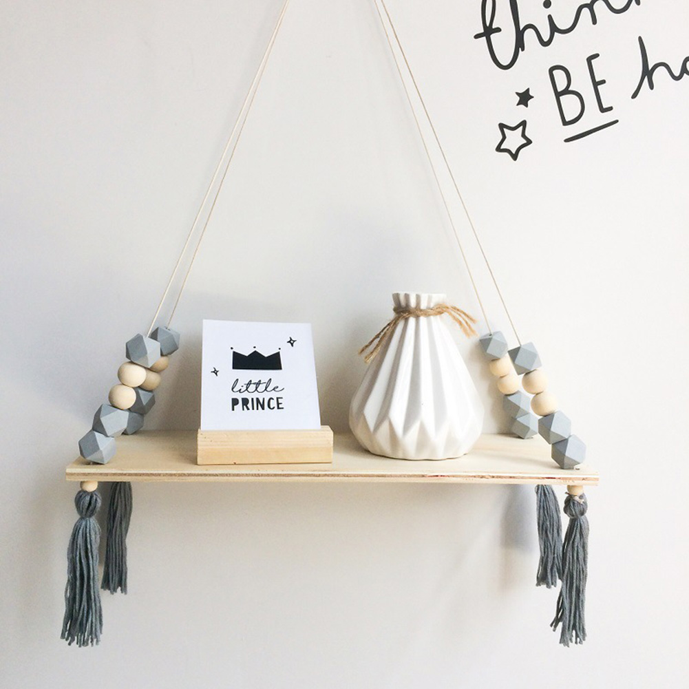 Nordic Style Wooden Beads Wall Hanging Tassel Decoration Gift Storage Shelves Clapboard Swing Rope For Children Room Party Decor