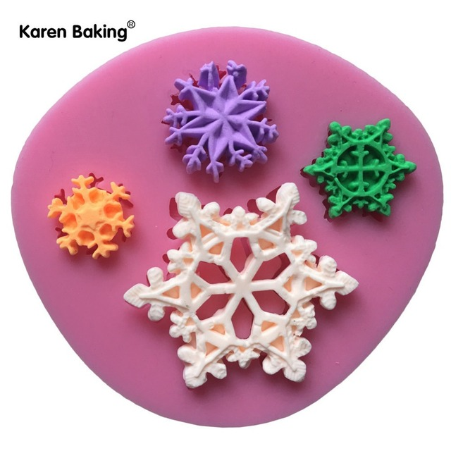 snowflake shape 3d silicon mold christmas silicone mold chocolate fudge sugar cake decorative c754