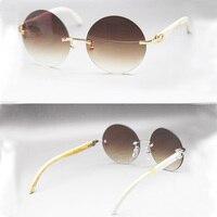Новый дизайн Оптовая Производитель Картер солнцезащитные очки без оправы Oversize круглый природа рога буйвола солнцезащитных очков подарок м
