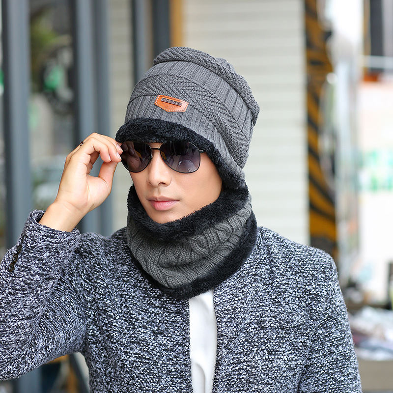 2017 Korean tide men cap  knitting  hat wool cashmere thermal sleeve head cap with Chiari cap scarf hat and collar the new children s cubs hat qiu dong with cartoon animals knitting wool cap and pile
