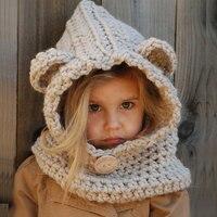 Maxmessy 아기 모자 겨울 비니 따뜻한 모자 후드 스카프 어린이 수제 만화 곰