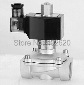 free shipping g3 4 stainless steel solenoid valve 2w200 20 no normally open for acid water air oil dc12v dc24v ac110v Free Shipping  1'' Stainless Steel Water Solenoid Valve Normally Open 2S250-25-NO