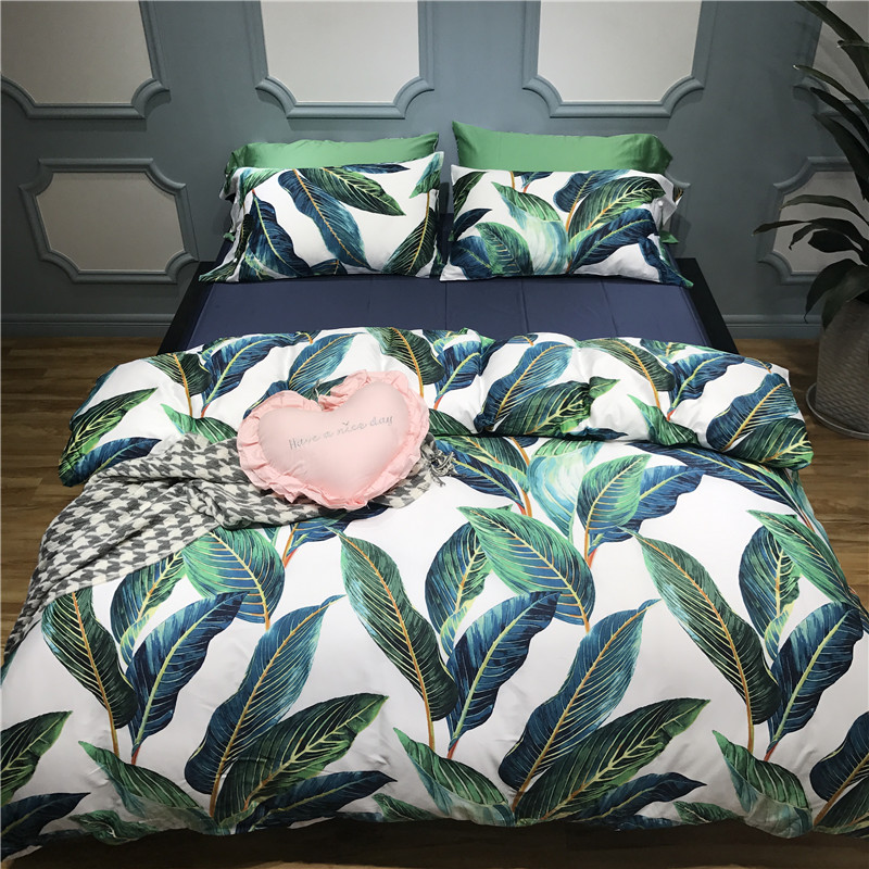 60S Egyptian Cotton Luxury Bedding Sets Soft Bedclothes King Queen Size Leaf Print Duvet Cover Bed Sheet Linens Set Pillowcase