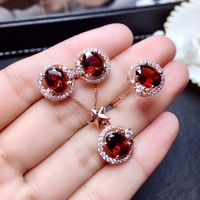 Natural red garnet gem S925 silver ring Pendant earrings natural gemstone Jewelry Set Classic round Stars girl gift fine jewelry