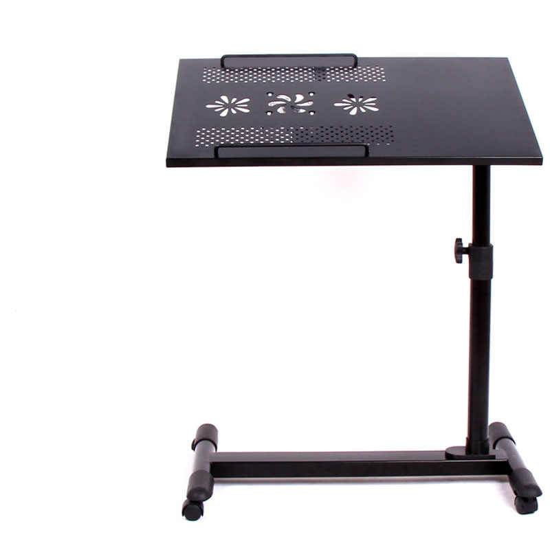 9%LK365 Rotary Computer Desk for Bed Wheels with Brake Height&Angle Adjustment Laptop Table with USB Fans Home Office Furniture