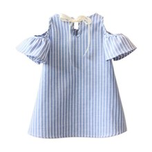 Fashion Kids Girl Princess Dress Summer Striped Short Sleeve Mini Dresses Infantil Children Vestidos