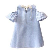 Fashion Kids Girl Princess Dress Summer Striped Short Sleeve Mini Dresses Infantil Children Vestidos
