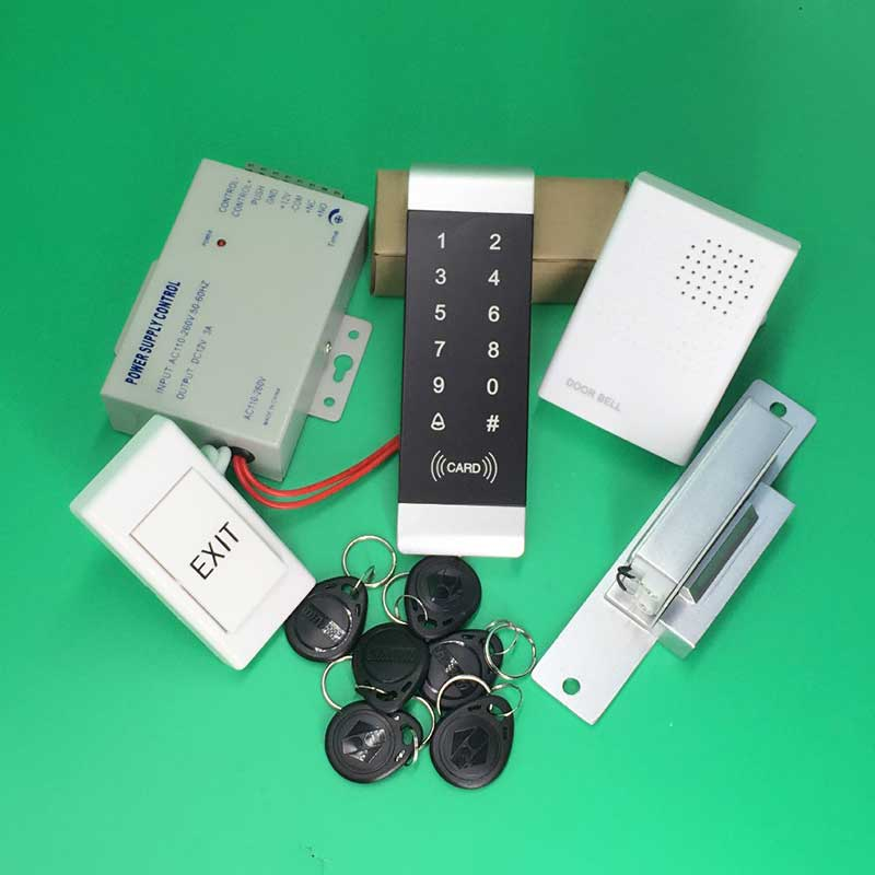 Access Control System NO Electric Strike Lock 125KHz RFID Reader Touch Keypad Access Controller kit
