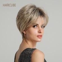 Haircube 6 дюймов синтетический парик для косплея короткие волнистые 50% человеческие волосы пушистые натуральные серебристо-серые парики для матери с челкой для женщин