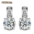 FEEROW Bridal Jewelry Fashion Platinum Plated Women Stud Earring Exquisiet Round Zircon Jewelry For Engagement FWEP017