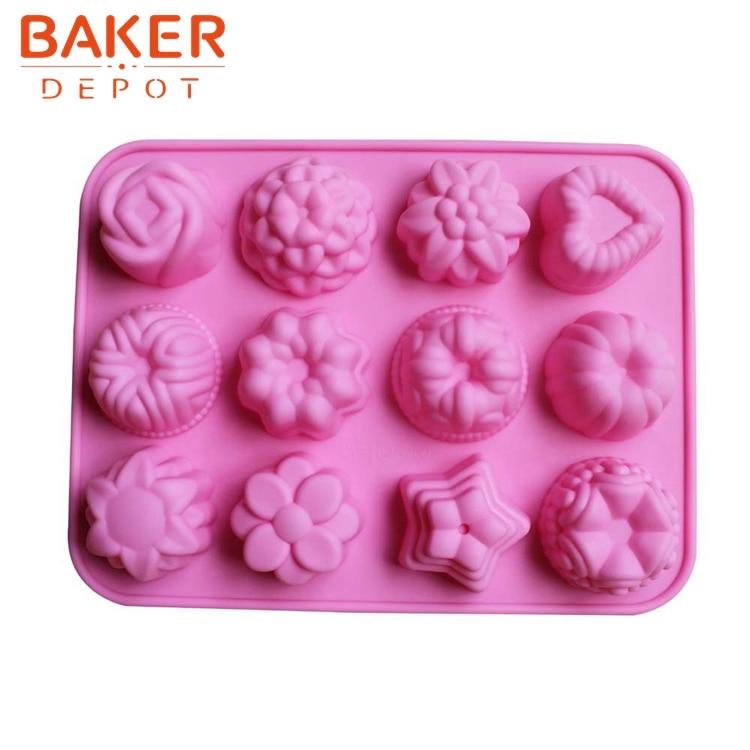 Silikonform für Kuchenschokolade 12 Gitter Blume Pudding Dessert Schimmel CDSM-094