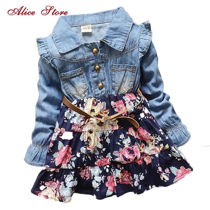 Girls Polka Dot cartoon princess dress Denim floral dress summer dresses Lace Flowers Long Sleeve Kids Free Shipping 1