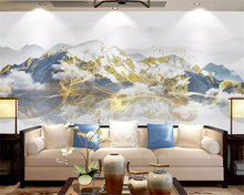 beibehang Custom silky green papel de parede 3d wallpaper new Chinese abstract ink lines beautiful cloud landscape background