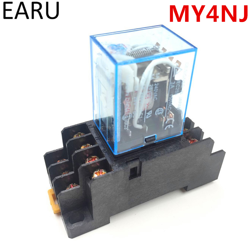 1Pc MY4NJ Electronic Micro Mini Electromagnetic Relay 5A 14PIN Coil 4DPDT With PYF14A Socket Base DC12V 24V AC110V 220V LED цена и фото