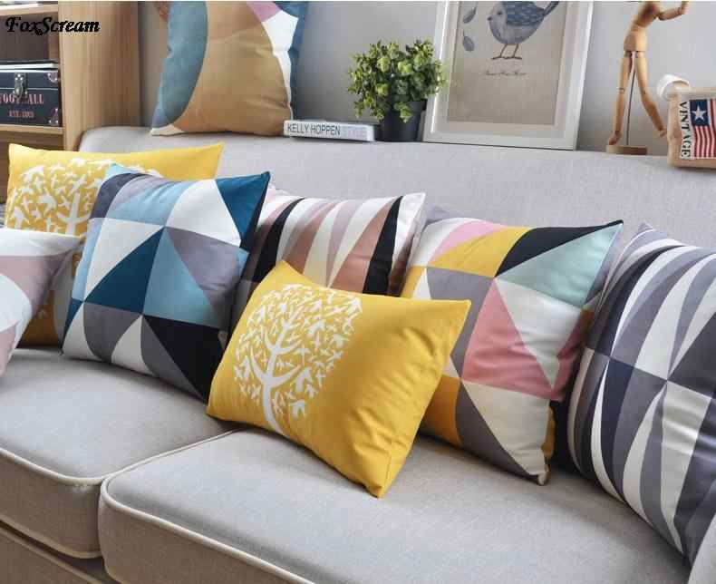 Scandinavian Pillow Case Decorative Pillows Blue Cushions Cover Home Decor Velvet Throw Yellow Pillowcase For
