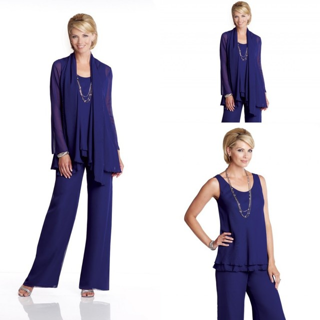 Modest Three Pieces Chiffon Mother of the Bride Groom Pant Suits ...