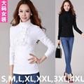 Sml xl, xxl, 3xl, 4XL blanco, negro, púrpura, Beige 2016 más mujeres del tamaño camiseta Tops manga larga de cuello alto mujer Casual camisa túnica