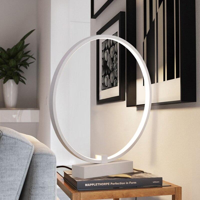 Moderne Einfache LED Tischlampe Für Schlafzimmer Wohnzimmer D40cm 36 Watt  Schreibtisch Tisch Lampen Minimalistischen Schlafzimmer Nachttischlampen