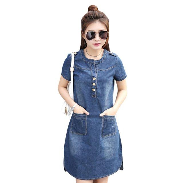 50cd04484b6 Women Solid O-neck Short Sleeve Plus Size Vestidos Party Dresses A Line Denim  Dress Slim Casual Office Denim Jeans Dress Newest