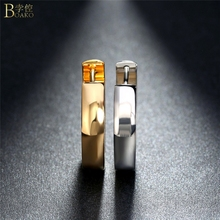 BOAKO Stainless Steel Earrings For Men Gold Sliver Color Hoop Earring Glossy aretes de acero inoxidable Women Party Jewelry Z5