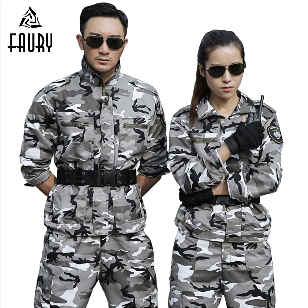 Military Uniform Snow Camouflage Army Combat Jacket Cargo Pant Uniforme Militar Tactical CS Men WomenTraining Working Clothes