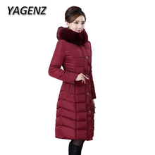 YAGENZ Down Cotton Winter Jacket Coats Women 2017 Fashion Lady Parkas Slim Thick Hooded Overcoats Warm Cotton Jacket Female 6XL