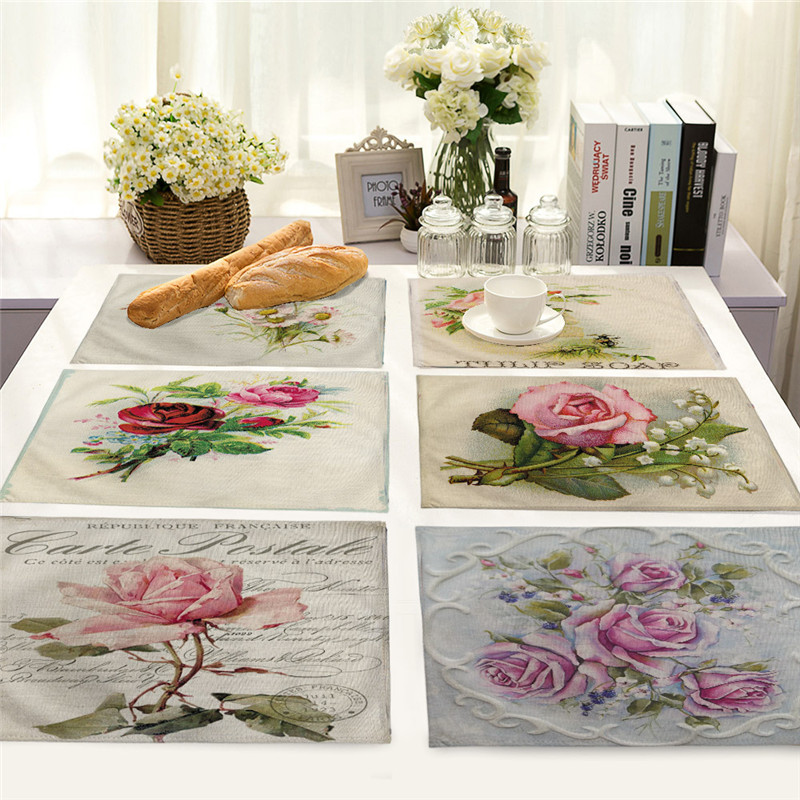 Kitchen Table Top Material: Vintage Plant Dining Placemat Table Mats Flower Rose