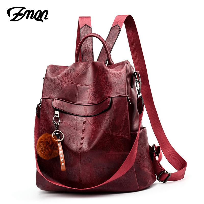 Image 2 - ZMQN Backpack Women Shoulder School Bags for Teenage Girls Vintage Leather Anti Theft Backpack Mochila Mujer Back Pack Lady C106-in Backpacks from Luggage & Bags