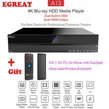 Egreat A13 4K UHD Blu-Ray HDD медиаплеер, двойной Встроенный HDD двойной HDMI выход Android tv Box, лучший выбор для кино и театра